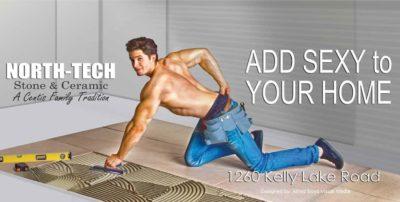 Male model in billboard advertisement
