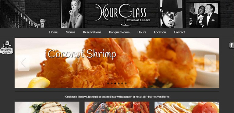 "Restaurant Website featuring ""mega menus\"" for user friendly navigation - users can navigate quickly on this site"