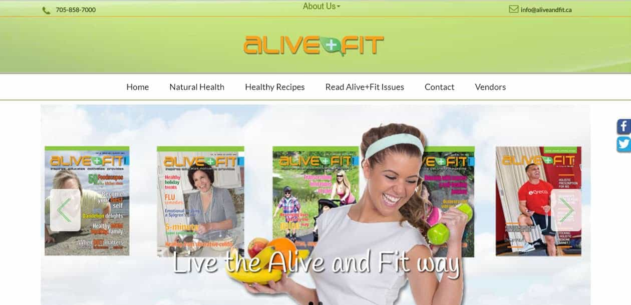 Alive and Fit website with a built in search engine to read magazine back issues