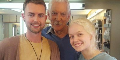 Scotia working on set with Donald Sutherland American Hangman