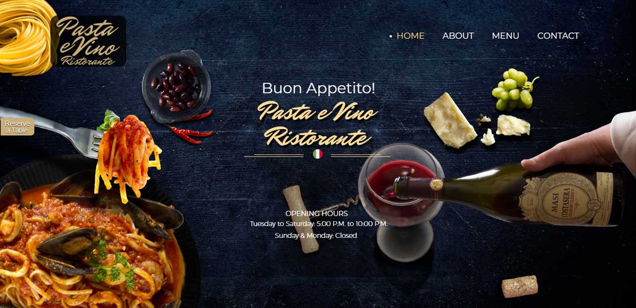 An example of a mobile friendly parallax scrolling website showing food photography.